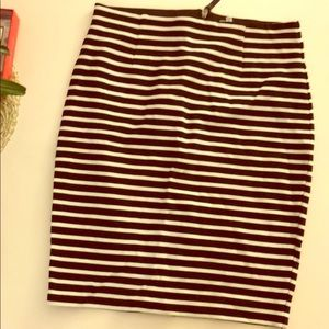 Joie black and white striped skirt